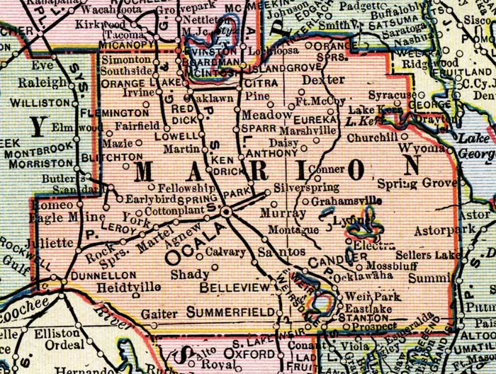 Marion County Florida Map Map of Marion County, Florida, 1902