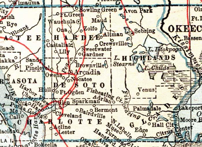 Map Of Hardee County Florida 1921