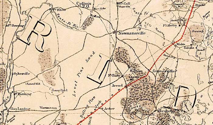 map of alachua county  florida  1864