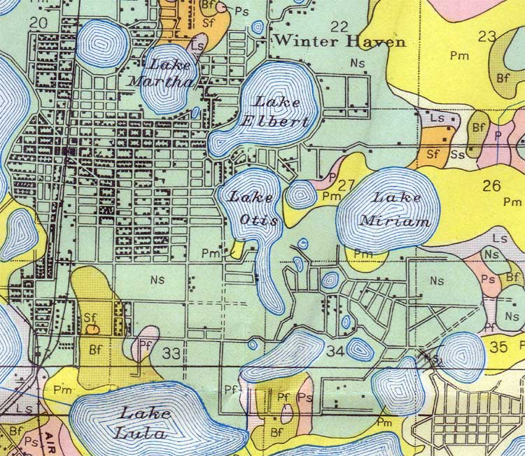 Map of Winter Haven, 1927, Florida