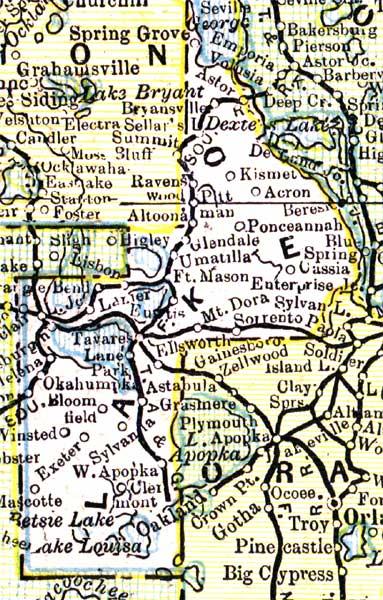 Map Of Lake County Florida.Map Of Lake County Florida 1890