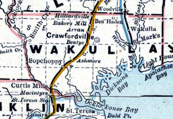 Map Of Wakulla County Florida.Map Of Wakulla County Florida 1890s