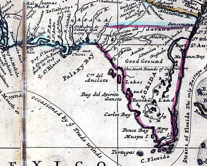 Map Of Florida 1720