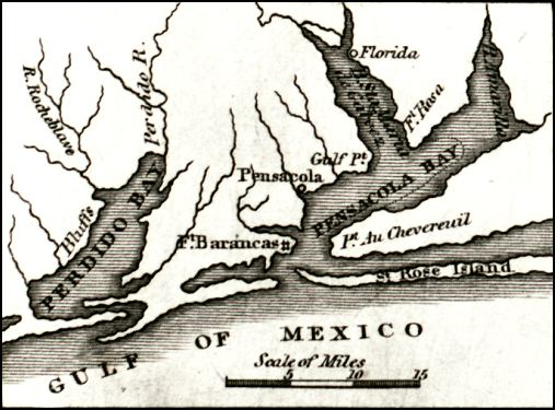 Map Of Florida Bays.Map Of Perdido And Pensacola Bays 1834