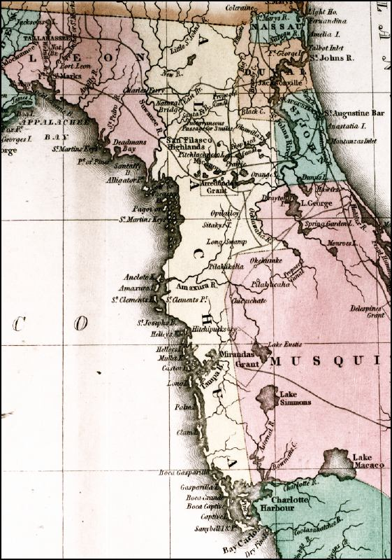 Map of Northern Florida circa 1800