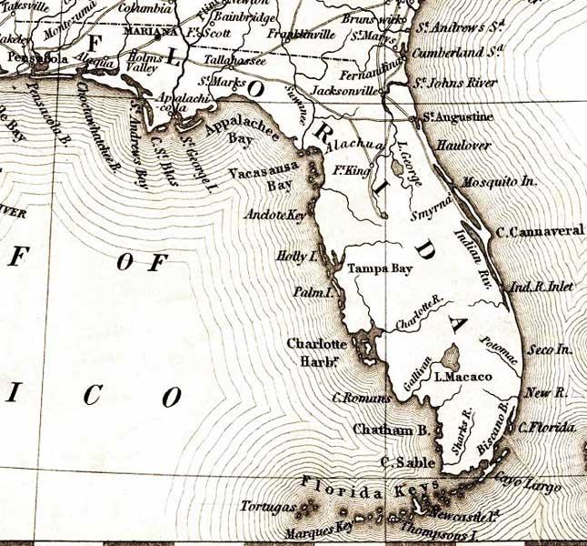 Detail Map Of Florida.Map Of Florida 1835