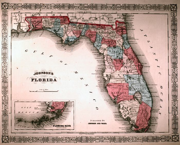 Map of Florida, 1863