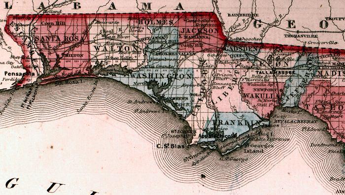 Panhandle Of Florida Map.Map Of The Florida Panhandle 1863