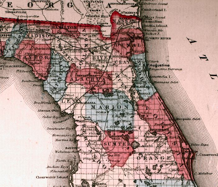 Map of North Florida, 1863