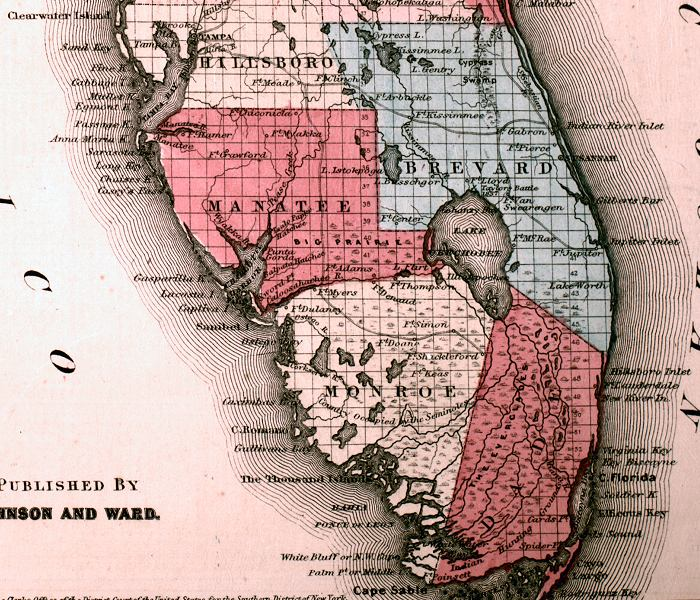 Map of South Florida 1863