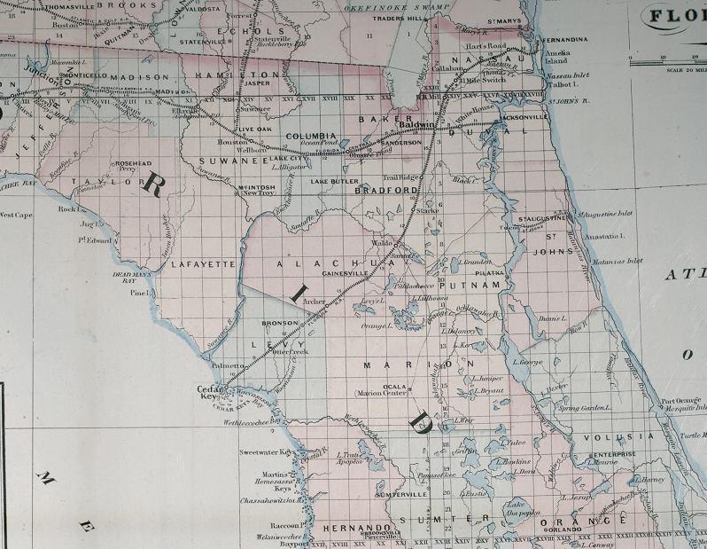 Map Of North Florida 1877