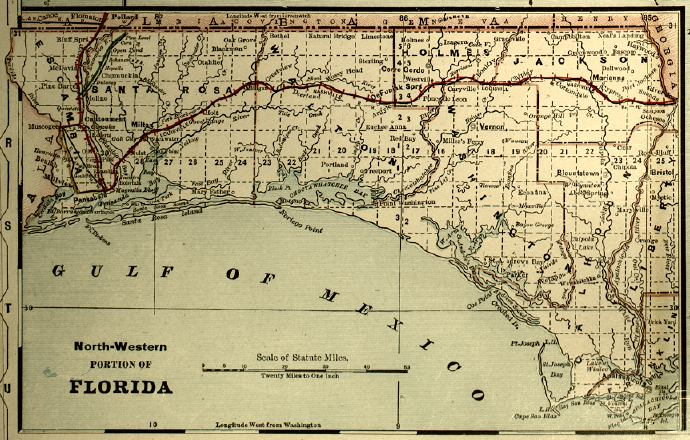 Map of the Florida Panhandle, 1890s
