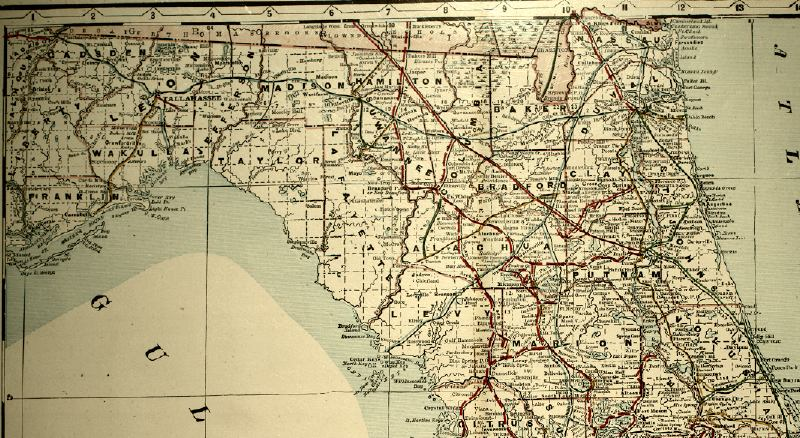 Map of North Florida, 1890s