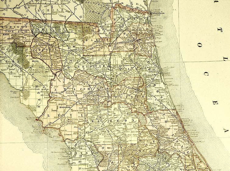 Map of North Florida, 1800s, III