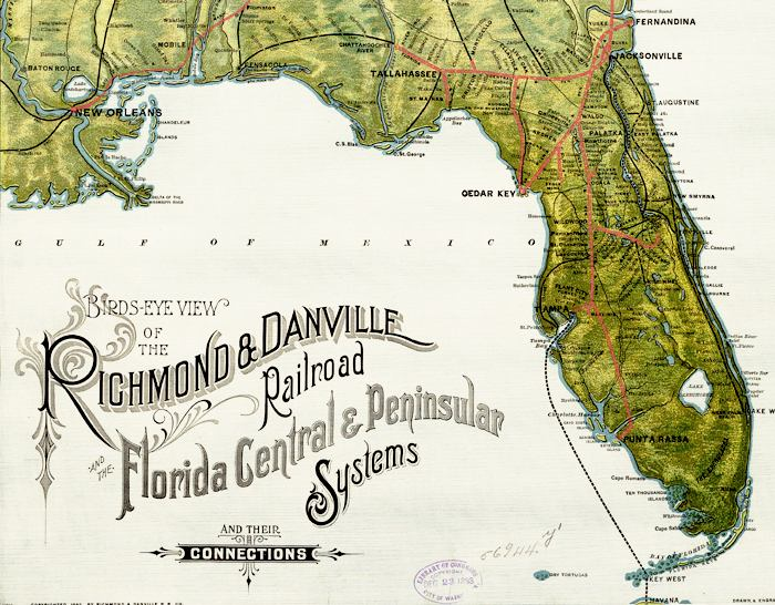 Rail Road Map of Florida, 1893