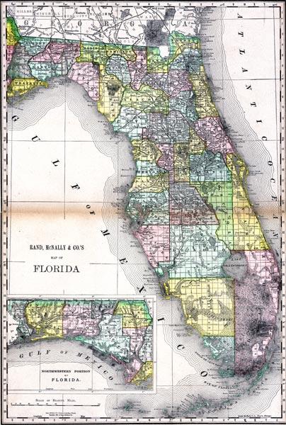 Rand Mcnally Map Of Florida.Map Of Florida 1892