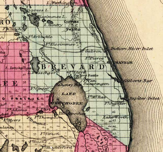 Map of Brevard County, Florida, 1863