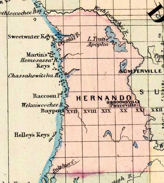 Map Of Hernando County Florida 1877