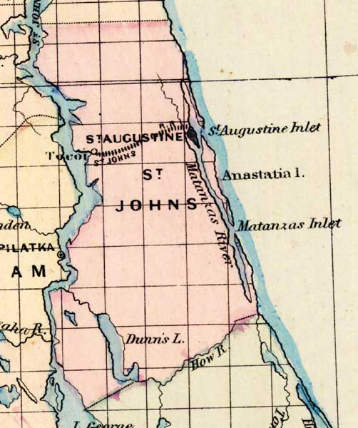 Map Of St Johns County Florida 1877