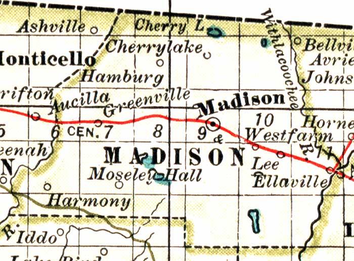 Map of Madison County, Florida, 1897 Madison County Map on madison washington map, northwest county map, madison va map, madison al map, stewart county map, long county map, grainger county map, early county map, letcher county map, bremer county map, chesapeake county map, tennessee map, west orange county map, madison village map, sweet grass county map, travel indiana county map, madison elevation map, elliott county map, chariton county map, warwick county map,
