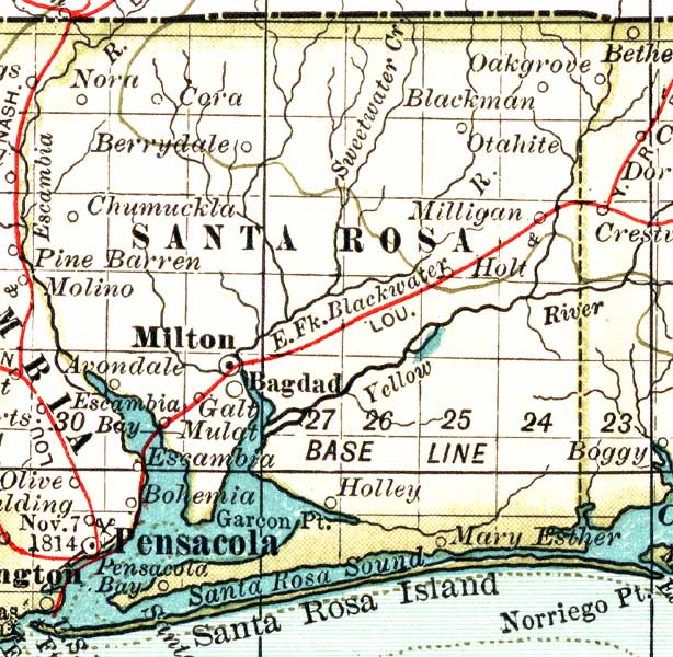 Holt Florida Map.Map Of Santa Rosa County Florida 1897