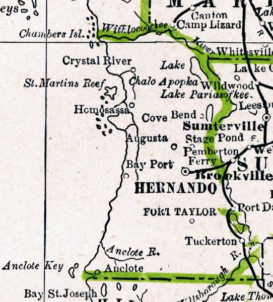 Map Of Hernando County Florida 1886