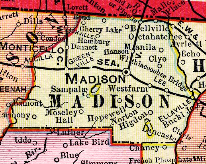 Madison Florida Map.Map Of Madison County Florida 1899