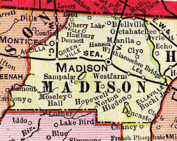 Map of Madison County Florida 1899