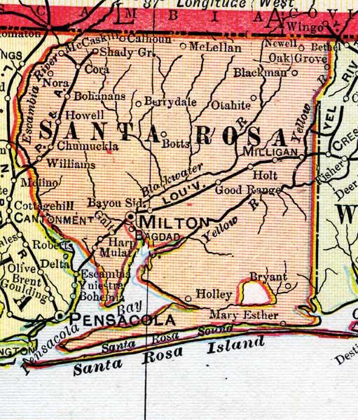 Map Of Santa Rosa County Florida 1899