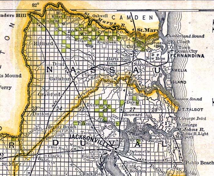 Map Of Nassau County Florida 1888