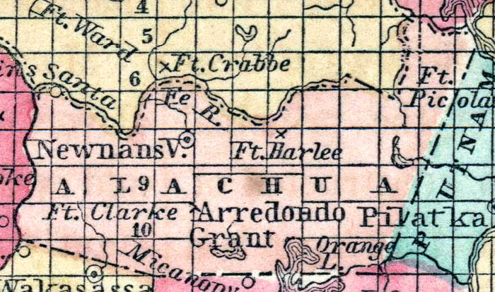 Alachua County Map Maps Alachua County 1857 Map