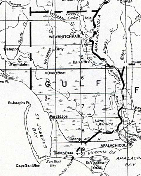 Florida Map Gulf.Map Of Gulf County Florida 1932