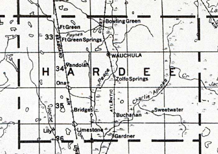 Map of Hardee County, Florida, 1932