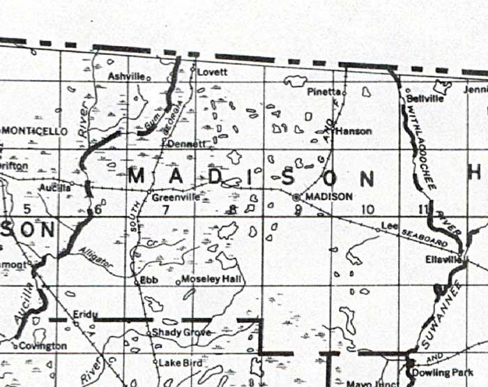 Map Of Madison County Florida 1932