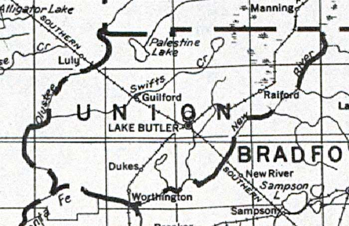 Map Of Union County Florida 1932