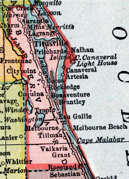 Map of Brevard County, Florida, 1910