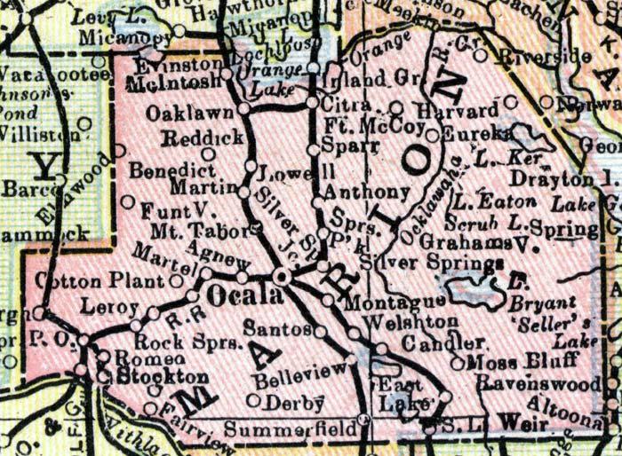 Marion County Florida Map.Exploring Florida Marion County Maps