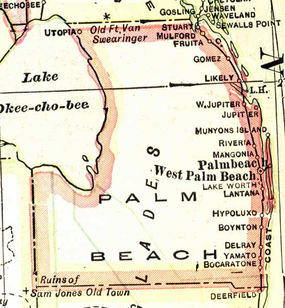 Map Of Palm Beach County Florida.Map Of Palm Beach County Florida 1916