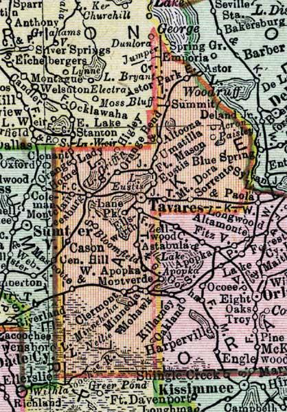 Map Of Lake County Florida.Map Of Lake County Florida 1900
