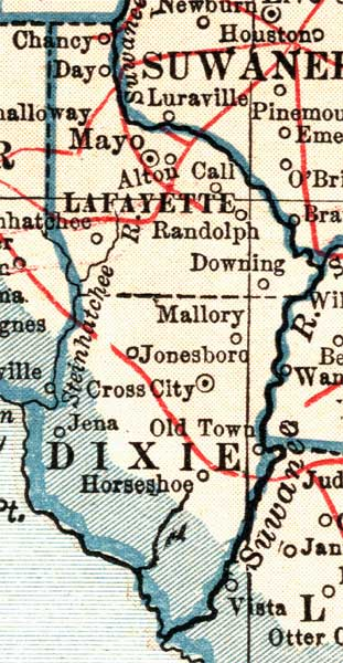 County Florida Map.Map Of Dixie County Florida 1921