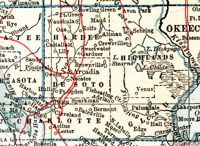 Florida Map By County.Map Of Hardee County Florida 1921