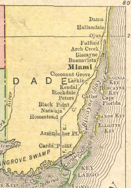 Map Miami Florida.Map Of Miami Dade County Florida 1910