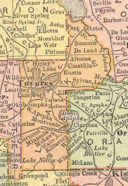 Lake County Florida Map.Map Of Lake County Florida 1910