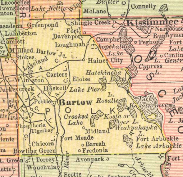 Map Of Polk County Florida 1910