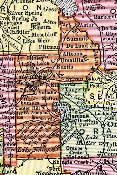 Lake County Florida Map.Map Of Lake County Florida 1917