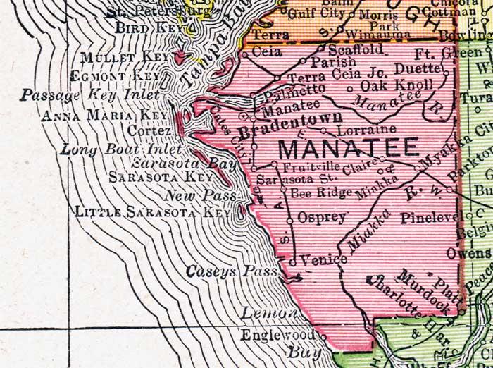 Venice Florida Map.Map Of Manatee County Florida 1917