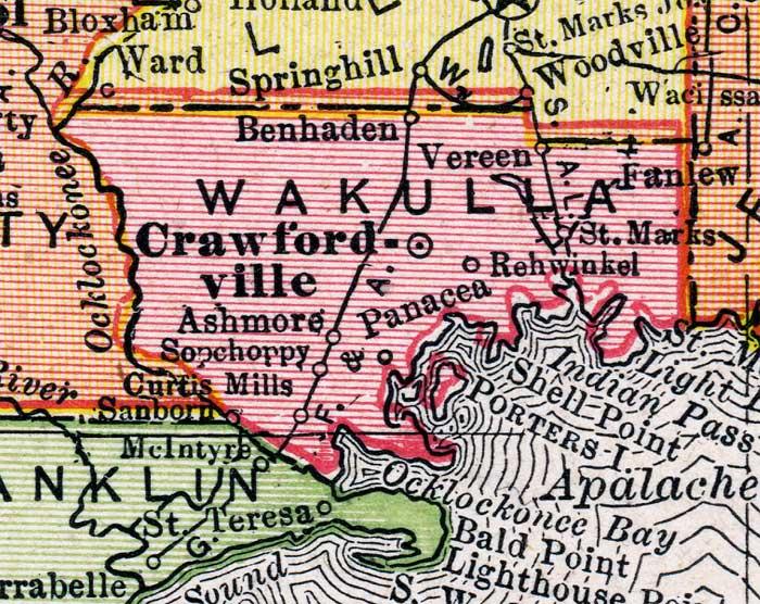 Map of Wakulla County, Florida, 1917