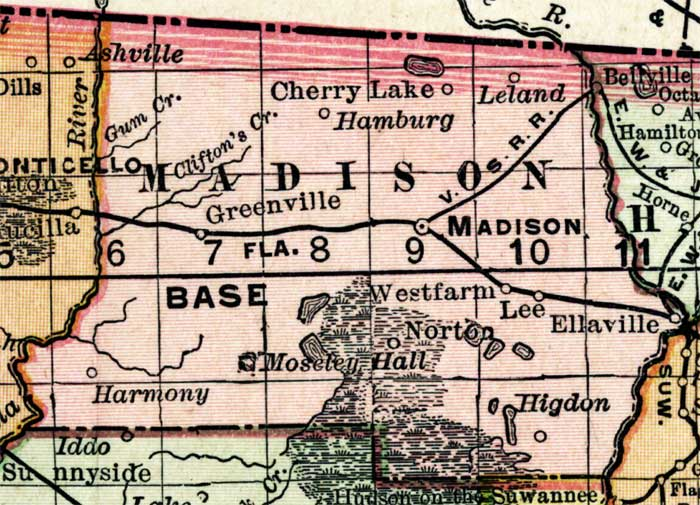 Greenville Florida Map.Map Of Madison County Florida 1898