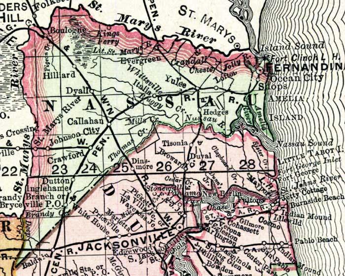 Map of Nassau County, Florida, 1898