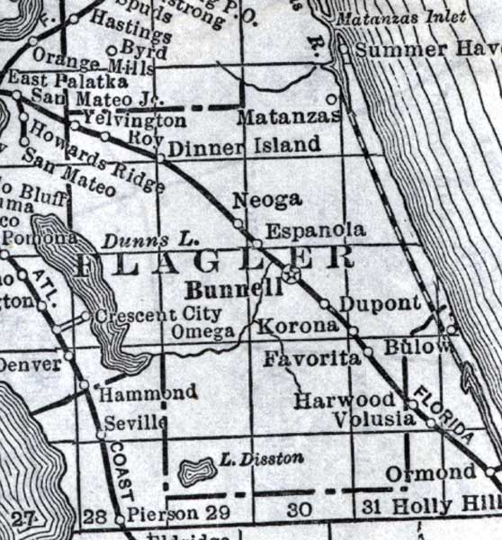 Map Of Flagler County Florida 1920
